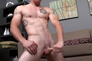 Hot jock Jimmy strokes dick