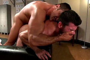 Huge muscles, raging hard cock and don't forget the oil!